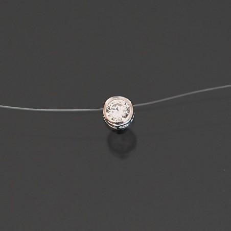 Collier fil nylon argent zirconium