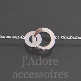 Bracelet deux anneaux entrelacés argent