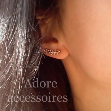 Boucles d'oreilles grimpantes épi plaqué or zirconium