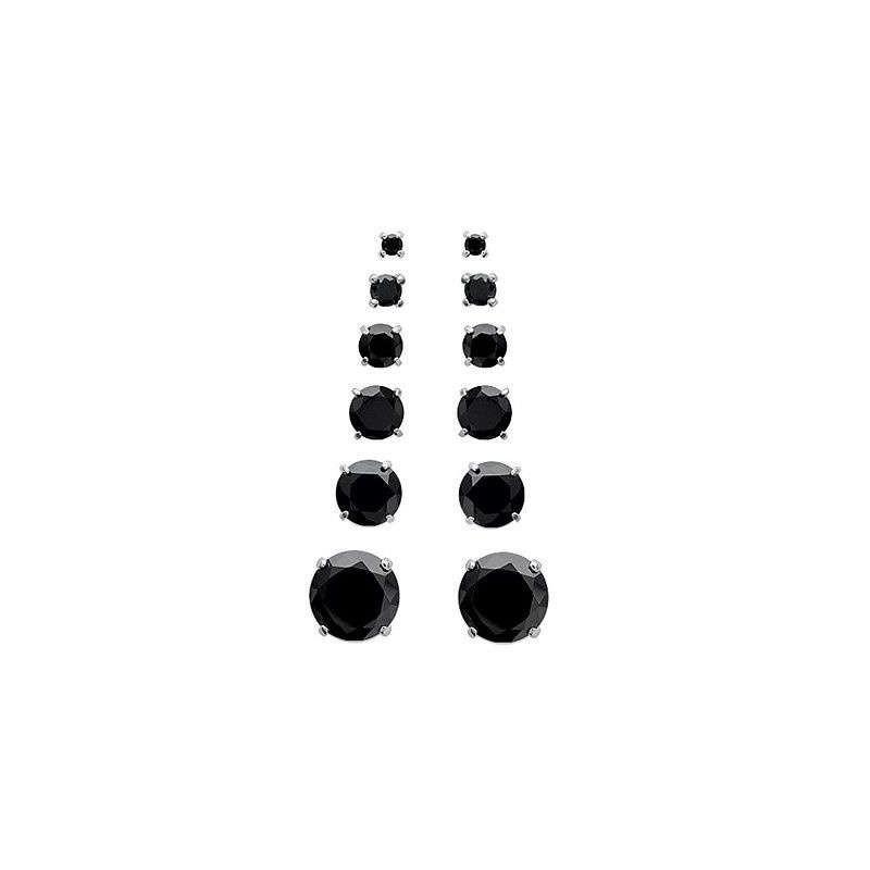 Boucles d'oreilles puces argent zirconium noir