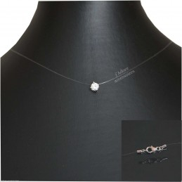 Collier argent fil nylon pendentif zirconium