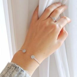 Bracelet Ouvert Devant Argent Zirconium