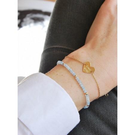 Bracelet Aigue-Marine et Perles en Plaqué or