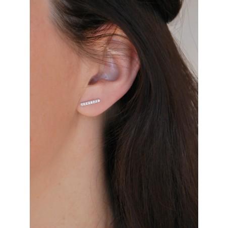 Boucles d'oreilles trait barre argent zirconium