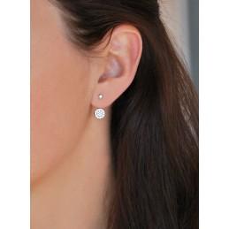 Boucles d'oreilles Dessous de Lobe Palet Argent Zirconium