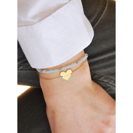 Bracelet personnalisé à graver coeur plaqué or