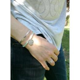 Bracelet Médaillon à Graver Argent Amazonite