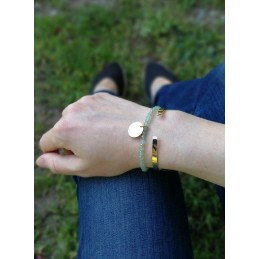 Bracelet Pastille à Personnaliser Plaqué or Aventurine