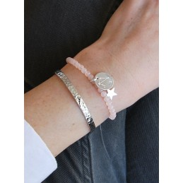 Bracelet Personnalisé Quartz Rose à Graver Constellation Médaille Argent