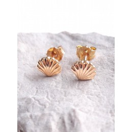 Boucles d'Oreilles Clous Coquillage Plaqué Or