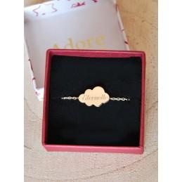 Bracelet personnalisé Nuage à graver plaqué or