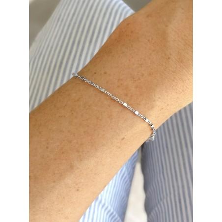 Bracelet Fin Argent Maille Cubes