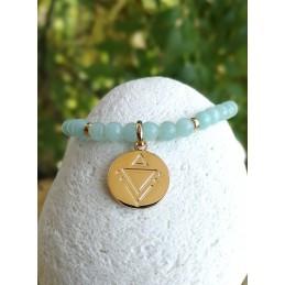 Bracelet Amazonite Médaillon Gravé Plaqué or