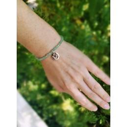 Bracelet Gemmes Aventurine Médaillon Gravée Plaqué or