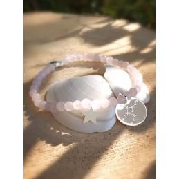 Bracelet Quartz Rose Médaille Personnalisée Constellation Argent