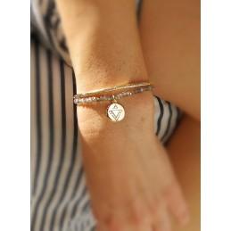 Bracelet en Labradorite Médaille Gravée Plaqué or