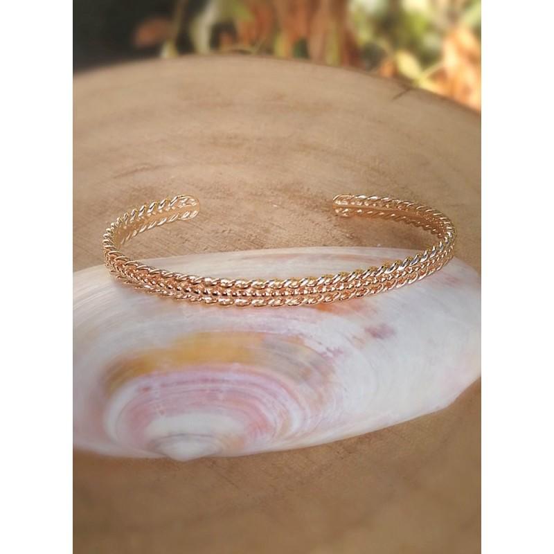 Bracelet Rigide Plaqué Or Perlé Torsadé