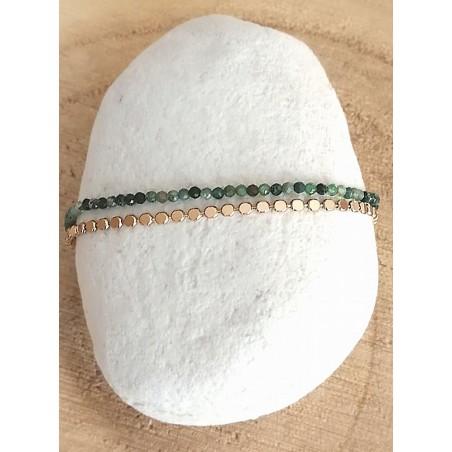 Bracelet Double Rang Agate indienne et Chaîne en Plaqué or