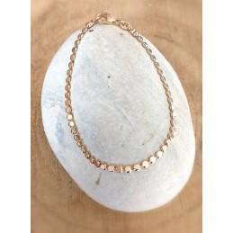 Bracelet en Plaqué or Chaîne Maille Cubes