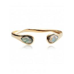 Bracelet Jonc Pierre gemme Labradorite, Plaqué or, Azuni