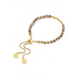 Bracelet pierre gemme Labradorite, Plaqué or, Azuni