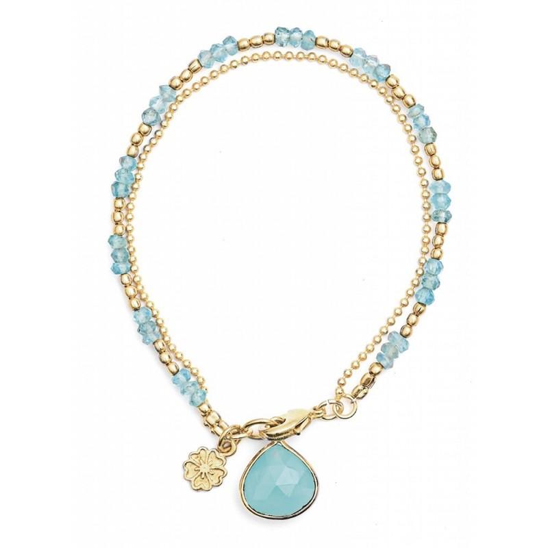 Bracelet multirang pierres gemmes Calcédoine, Plaqué or, Azuni