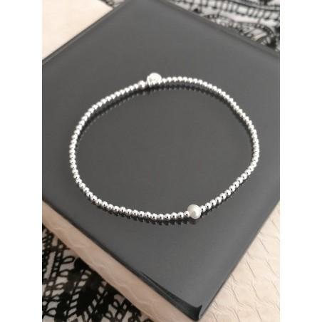 Bracelet boules argent zirconium