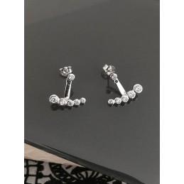 Boucles d'oreilles dessous de lobe argent double zirconium