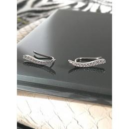 Boucles d'oreilles contour de lobe barrette argent zirconium