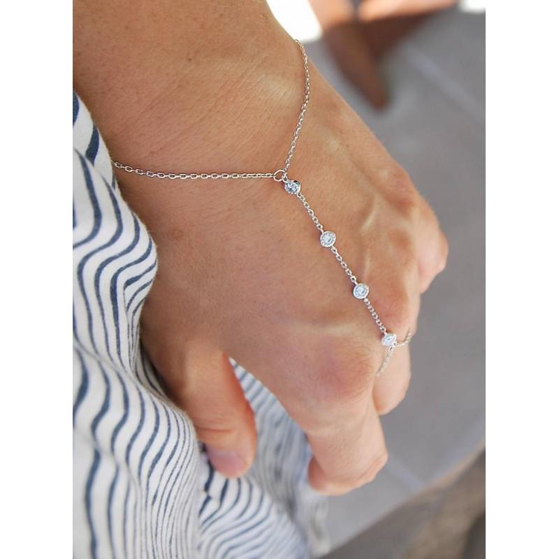 Bracelet chaîne de main argent zirconium