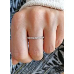 Bague anneau argent zirconium superposable
