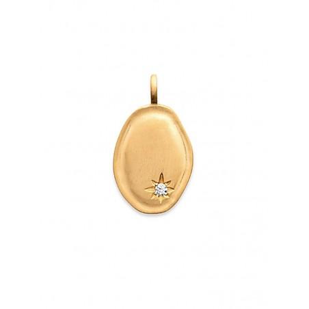 Pendentif médaille ovale plaqué or mat