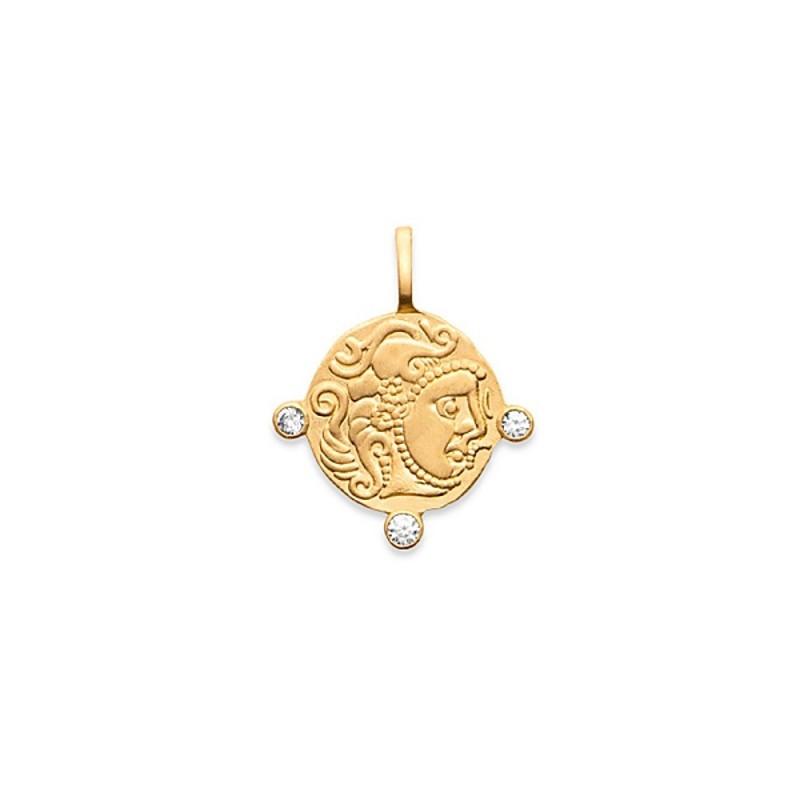 Pendentif médaille pièce antique plaqué or zirconium