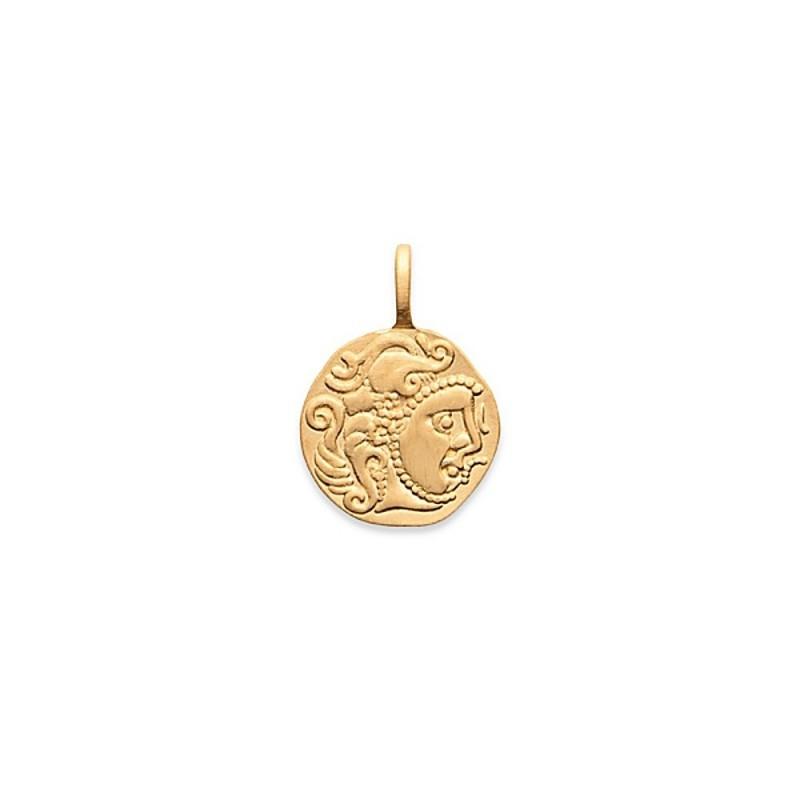Pendentif médaille monnaie antique plaqué or zirconium