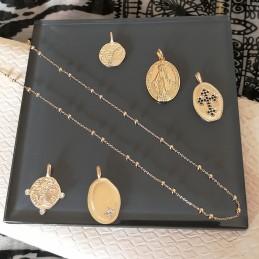 Pendentif médaille Vierge Marie plaqué or