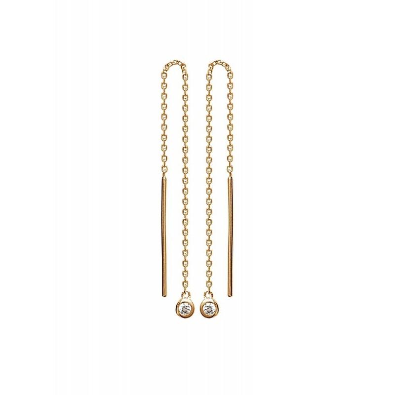 Boucles d'oreilles chaînes pendantes plaqué or zirconium