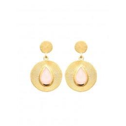 Boucles d'oreilles pendantes quartz rose plaqué or