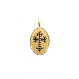 Pendentif médaille croix orthodoxe plaqué or zirconium noir
