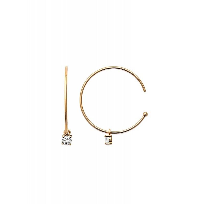 Boucles d'oreilles créoles plaqué or avec pampille zirconium