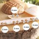 Boucles d'oreilles puces plaqué or zirconium serti clos - 2mm, 3mm, 4mm, 5mm, 6mm