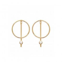 Boucles d'oreilles créoles barre verticale et anneau plaqué or