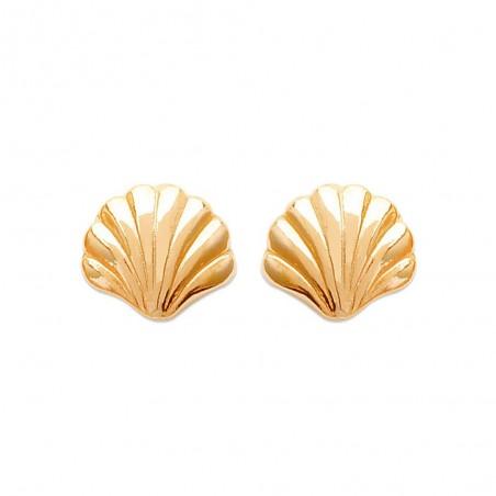 Boucles d'oreilles puces coquillages plaqué or
