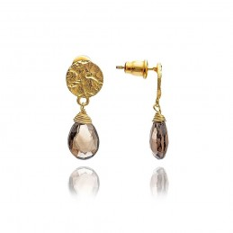 Boucles d'oreilles plaqué or pierre naturelle quartz fumé