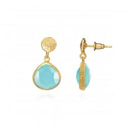 Boucles d'oreilles gouttes pierre bleue naturelle calcédoine, Azuni