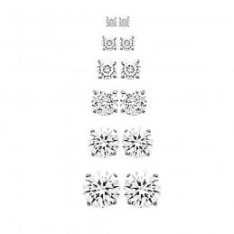 Boucles d'oreilles puces argent zirconium 4 griffes 2 mm, 3 mm, 4 mm, 5 mm, 6 mm