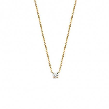 Collier zirconium solitaire 4 mm plaqué or