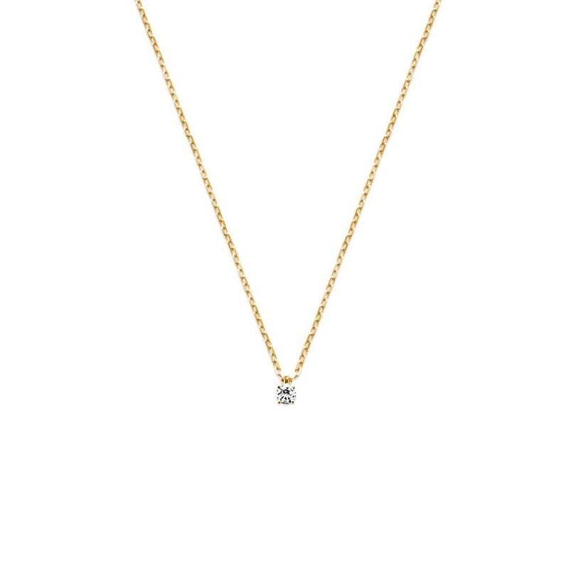Collier solitaire plaqué or zirconium 3 mm
