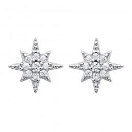 Boucles d'oreilles argent zirconium puces étoile du Nord