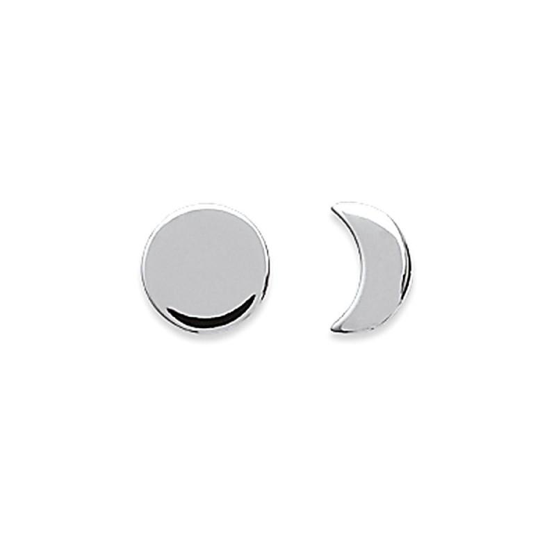 Boucles d'oreilles puces lune demi-lune argent