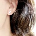 Boucles d'oreilles puces croissant de lune et pleine lune argent